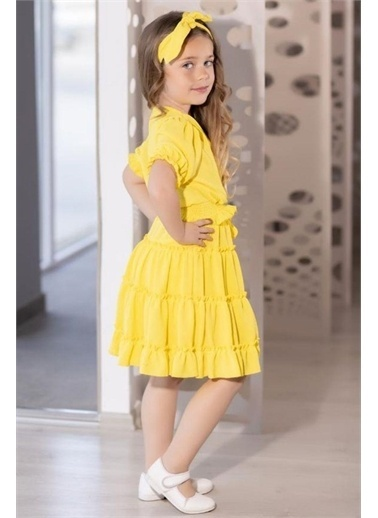 Riccotarz Kız Çocuk Beli Lastikli Fırfır Detaylı Sarı Etekli Takım Sarı